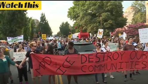 美国华盛顿特区大规模游行 抗议美国政府遣返移民