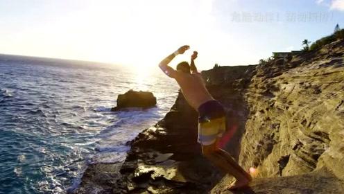 在夏威夷岛上的悬崖经行的80英尺跳水!