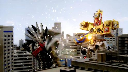 强化版快盗战队鲁邦凯撒与X帝王枪手合力战斗,消灭巨大的怪兽