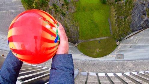 把保龄球从165米的水坝摔下 威力有多大 结果彻底毁三观