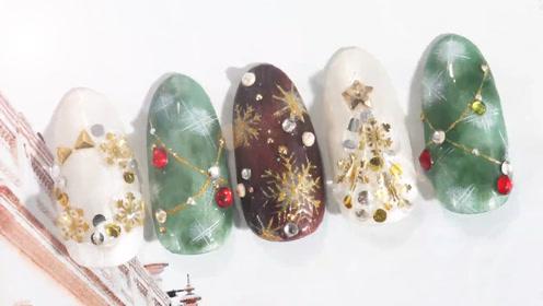来款雪花飘圣诞树美甲 助你度过欢乐圣诞
