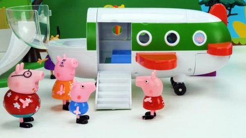 小猪佩奇一家人度假,猪爸爸第一次开飞机成功了