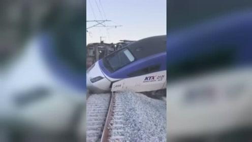 突发!韩国高铁发车5分钟后脱轨,4节车厢冲出轨道