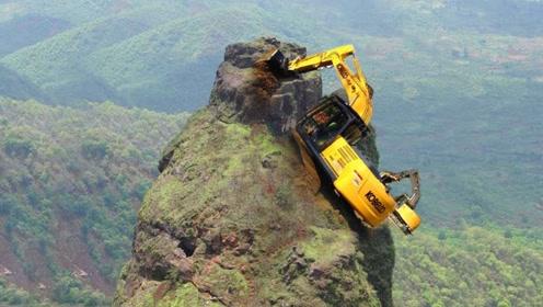 悬崖那么危险,挖掘机到底怎么爬上去的?
