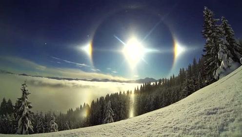 冷出异象?美国遭冬季风暴袭击天空出现幻日!