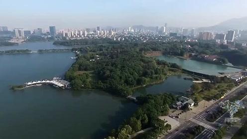 高清航拍,青山绿水环境优美,安徽铜陵天井湖