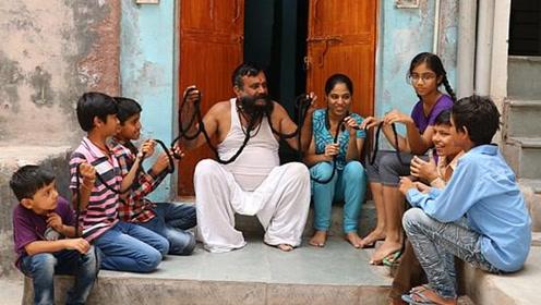 印度达人胡子6米长!每天需花3小时打理