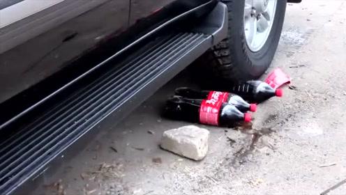 实验:汽车从三瓶可乐上压过,泰山压顶能扛住吗?