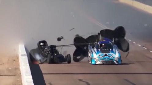 赛车起飞失败,还连累了别的车子,损失太惨重了!