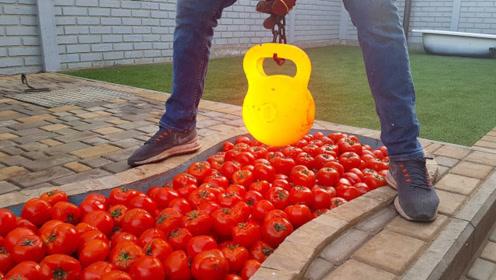 1000度壶铃的威力有大?老外用一池西红柿实验,结果尴尬了!