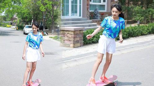 田亮晒女儿玩滑板照片,这个腿长真不给人留活路,第二个关晓彤?