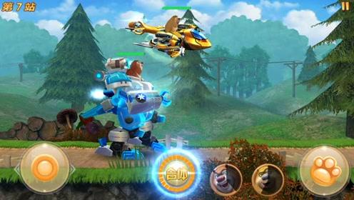 熊出没猴子攻击冰冻机甲,熊大击败大怪兽修复机甲装备