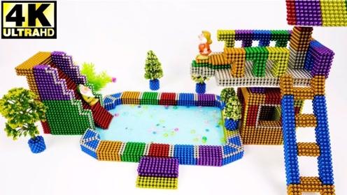 手工DIY创意:如何用巴克球制作游泳池,真是太好玩了!