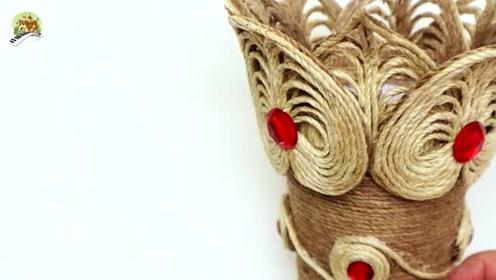 手工制作,用黄麻绳制作花瓶工艺品