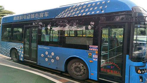 实拍南阳氢能源客车:有加氢装置却在充电