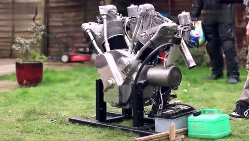 小伙自制v缸2749cc哈雷摩托车发动机,马蹄声迷人