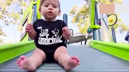爸爸带宝宝体验波纹滑梯,满身的小肉颤抖起来太萌了