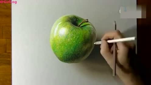 大神的画笔手绘一个3的苹果!