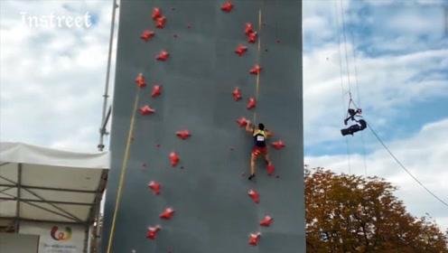这攀岩速度堪比现实版蜘蛛侠啊,太厉害了