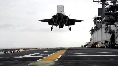 给F-35舰载机的特写镜头,画面堪比好莱坞影片