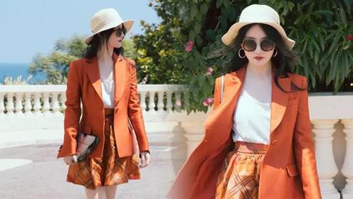 橙色西装配短裙,刘亦菲又美出新高度!神仙姐姐短短几天惊喜十足