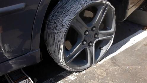 用2000根数据线充当车胎,汽车跑起来会是什么样子