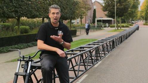 世界上最长的自行车,组装起来需要叉车助力,就是不知道如何拐弯