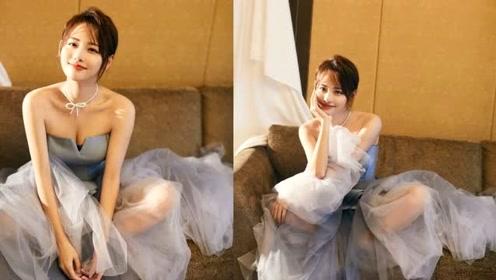 张嘉倪豪门生活太高调,冰蓝抹胸纱裙轻奢华贵,清透妆容给满分