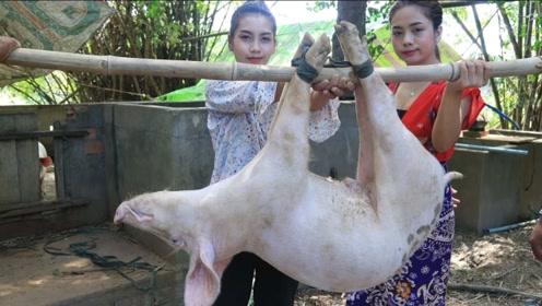 生猛!农村小姐姐想要改善生活,烤整只猪吃,太过瘾了