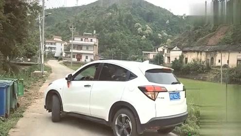 新手司机进村上演倒车,3分钟楞是没倒出去