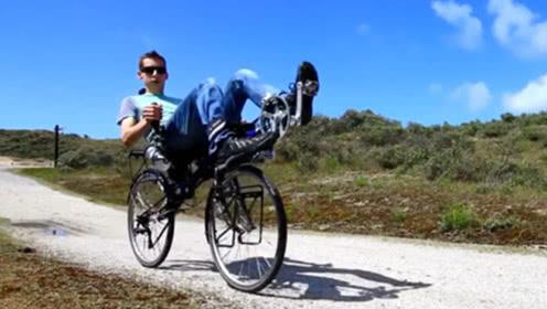 原本以为是轮椅,没想到是辆自行车,速度快到感觉像坐过山车