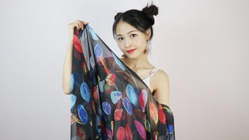 被低估的46元长丝巾,小姐姐拿它做造型,换妆后拍照美到认不出