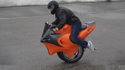 老外发明独轮两轮任意切换的摩托车,炫酷又拉风,回头率百分百