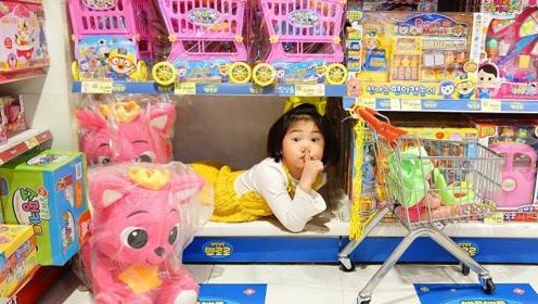 爸爸带萌娃买玩具,女儿却使坏玩捉迷藏,爸爸找得快崩溃了!