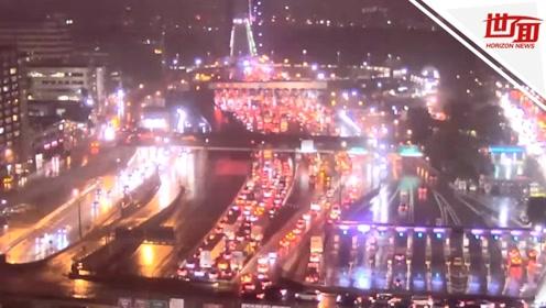 纽约一大桥因炸弹威胁被封锁 车水马龙拥堵点亮城市