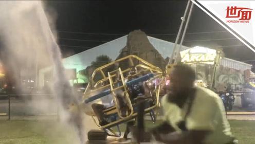 惊险!玩家坐上弹弓椅正要发射升空 牵引绳突然断了