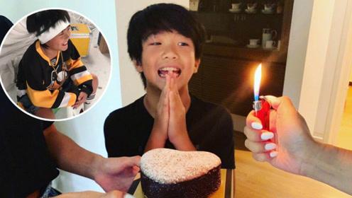 曹格一家为儿子庆生,11岁Joe遗传爸爸好基因