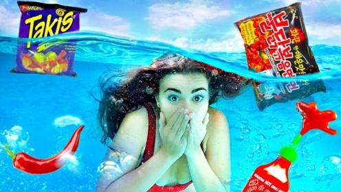 """美女挑战水下吃""""辣条"""",刚吃一口脸色就变了,下一秒意外发生!"""