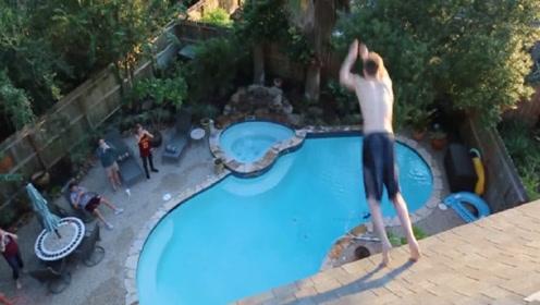 老外作死从2楼跳进泳池,不料意外发生,网友:隔着屏幕都觉得疼
