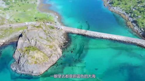蔚蓝色的大海翠绿色的山丘