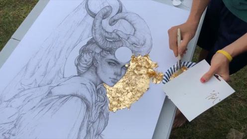 金箔打造出来的画,处处透着贵的气息,真是烧钱的艺术
