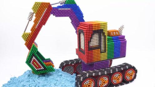 教萌娃小可爱们用磁力巴克球制作精致的铲车,好完美的细节!