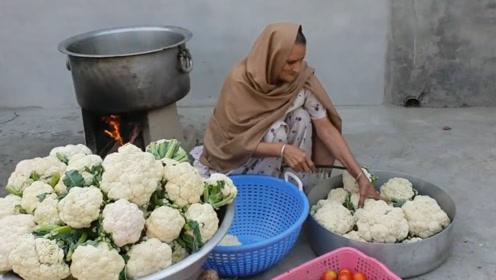 60岁土豪老太免费做美食,100斤西蓝花,120孩子吃到撑