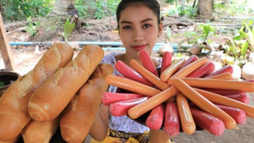 田园美食:村花户外自制热狗,看起来美味又好吃