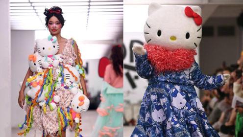 伦敦时装周上最可爱的秀 有各式凯蒂猫公仔走秀!