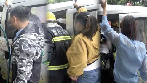 面包车司机车祸被困,3路人轮流手举吊瓶救援