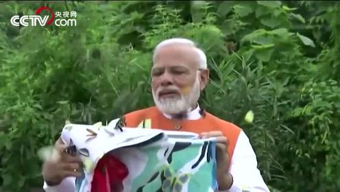 印度总理莫迪放飞蝴蝶 大批彩蝶漫天飞舞