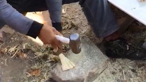 罕见的老手艺,用锤子砸出来的刷锅刷子,这就是劳动人民的智慧!