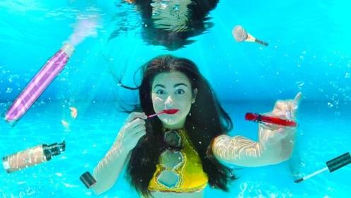 小姐姐挑战水下化妆,妆容竟然还服帖的很,太厉害了