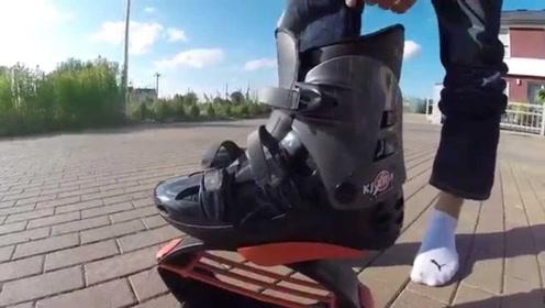 老外研发新型跑鞋,穿上后能弹跳一米,自行车将被取代!